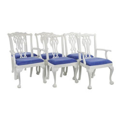 Pre-owned White Painted Chippendale Dining Chairs - Set of 6 - A set of six vintage Chippendale dining chairs, that have been professionally painted in a crisp white enamel, and given fresh seats in a cobalt velvet. Imagine the graphic pop they could introduce into a dining room! There are two arm chairs, and four sides.     These chairs are solidly built pieces from the middle of the twentieth century - with excellent traditional lines. The seller sent them to a shop which paints cabinetry as well as furniture for a good finish. The fabric is from Calico's line of performance velvets, designed to repel liquids. Feels like a nice cotton velveteen, and makes a practical dining room seat. The edges are trimmed with a single welt.    For color mavens, the paint was mixed to match Benjamin Moore's Mascarpone. The representations on monitors vary - this is a very fresh white with a slight bit of cream. These chairs could bring a new look to a dining room - whether you use a mahogany table, or a glass and steel one.     Side Chair dimensions:  23W, 23D, 39H, seat height 20.25  Arm Chair dimensions:  26W, 23D, 40H, seat height 20.25