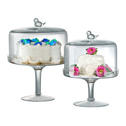 Songbird Cake Stand - Showcase your baked creations (or those of your favorite bakery) with this cake stand. The cloche is topped with a happy little bird that acts as both a handle and sweet embellishment.