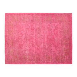 Pink Cast Overdyed Hand Knotted Rug 5' x 7' 100% Wool Mahal Oriental Rug SH15013 - Our Overdyed & Patchwork hand knotted Rug Collection is another highly demanded rug in our industry today. For our Hand Knotted  Overdyed Rugs we have a team that strips the original colors and overdyed in either more vibrant or softer & subtle hues.  The Patchwork Hand Knotted Rugs are very unique and complex.  Its composed of several different designs made up into one rug.