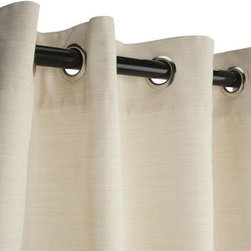 Sunbrella Outdoor Curtain with Grommets - Dupione Pearl - Sunbrella is a heavy-duty yet lightweight acrylic blend, resistant to staining, rot, mold and mildew, yet has a softness on par with cotton. The Grommet Top hanging style is among the most efficient, and popular, for outdoor settings, and also among the easiest to use as well.  Grommets are nickel plated.  Panels are sold as individuals with a tie back.