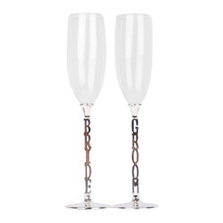 """Unik Occasions - Bride and Groom Wedding Toasting Flutes/Champagne Glasses - Need a pair of champagne glasses for the ceremonial toast at your wedding reception? Unik Occasions has got you covered, and we offer high-quality toasting flutes that have the words """"bride"""" and """"groom"""" as the stems of our champagne glasses. This set comes with two bride and groom champagne flutes, and each glass measures 10'' tall."""