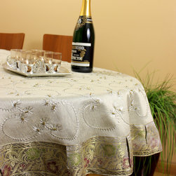 "Unique & DecorativeTablecloths - Luxurious ""Silver"" Hand Embroidered 53"" Round tablecloth. Special events decor ideas. Transform your table tops into a display of art. Dupion silk fabric. Grey Gray"