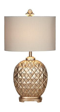 """Kathy Ireland - Transitional Kathy Ireland Marrakesh Weave Champagne Table Lamp - A Moroccan trellis pattern overlays on a beautiful diamond relief in this exquisite North African inspired table lamp. A matching finial and an oval shade maintain a classic style while a champagne finish gives it an understated elegance. Get a glamorous look from Kathy Ireland for the bedroom or living room. Resin construction. Champagne finish. Maximum 150 watt bulb (not included). 30 1/2"""" high. Shade is 17"""" wide and 11 1/2"""" high.  Resin construction.   Champagne finish.   Maximum 150 watt bulb (not included).   30 1/2"""" high.   Shade is 17"""" wide and 11 1/2"""" high."""