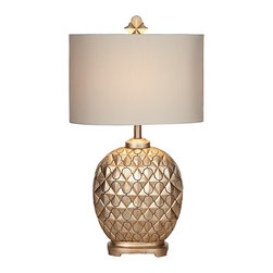 "Kathy Ireland - Transitional Kathy Ireland Marrakesh Weave Champagne Table Lamp - A Moroccan trellis pattern overlays on a beautiful diamond relief in this exquisite North African inspired table lamp. A matching finial and an oval shade maintain a classic style while a champagne finish gives it an understated elegance. Get a glamorous look from Kathy Ireland for the bedroom or living room. Resin construction. Champagne finish. Maximum 150 watt bulb (not included). 30 1/2"" high. Shade is 17"" wide and 11 1/2"" high.  Resin construction.   Champagne finish.   Maximum 150 watt bulb (not included).   30 1/2"" high.   Shade is 17"" wide and 11 1/2"" high."