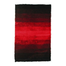 """Noble House - Jewel Black/Red Rug - Developed with the rainbow effect in prevailing trendy color hues, this collection compliments the modern interior d cor. Furry feel polyester yarn is used to articulate these rugs. Features: -Depending on amount of traffic on rugs, professional cleaning or washing is required every 1 to 2 years..-Handmade.-Do not expose rugs in direct sun light for longer time as it could result in faded colors of rugs..-Collection: Jewel.-Distressed: No.-Collection: Jewel.-Construction: Handmade.-Technique: Woven.-Primary Color: Black/Red.-Type of Backing: Latex.-Material: Polyester.-Fringe: No.-Reversible: No.-Rug Pad Needed: No.-Water Repellent: No.-Mildew Resistant: No.-Stain Resistant: No.-Fade Resistant: No.-Eco-Friendly: No.-Recycled Content: No.-Outdoor Use: No.-Product Care: In case of liquid, blot clean with undyed cloth by pressing firmly around the spill to absorb as much as possible..Specifications: -CRI certified: No.-Goodweave certified: No.Dimensions: -Pile Height: 2"""".-Overall Product Weight (Rug Size: 4' x 6'): 30 lbs.-Overall Product Weight (Rug Size: 5' x 8'): 45 lbs.-Overall Product Weight (Rug Size: 8' x 11'): 75 lbs.Warranty: -Product Warranty: No warranty."""