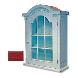 Tradewinds - Wooden Glass Cabinet, Red - The Glass Cabinet is a traditional style wooden cabinet with an arched top. The interior has three large shelves, which are accessible through a single door on the front. It will lend a traditional look to the interiors. The stained, painted surface of the cabinet requires minimal maintenance and can be wipe-cleaned simply with a dampened lint-free cloth. As painted surfaces wither over time due to the use of furniture polishes, waxes, or other chemicals and due to the exposure to direct sunlight, it is not recommended to use any of them on the cabinet.