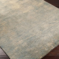 Surya - Plush Noble 2'x3' Rectangle Green-Blue Area Rug - The Noble area rug Collection offers an affordable assortment of Plush stylings. Noble features a blend of natural Green-Blue color. Handmade of 100% Wool the Noble Collection is an intriguing compliment to any decor.