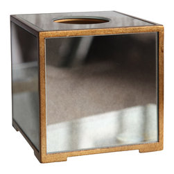 "Bungalow 5 - Bungalow 5 Marie Tissue Box - Bungalow 5's Marie tissue box accents a transitional interior with shimmering glamour. Antique mirrored panels shine across the rectangular accessory's gold metal frame. 5.5""W x 5.5""D x 6""H"