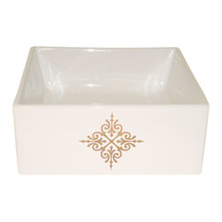 Decorated Porcelain Company - Gold Fancy Emblem Hand Painted Sink - Add an elegant touch to your bathroom or powder room with this decorative metallic gold emblem on a white square vessel sink. All of our fixtures are hand-made to order in the USA and kiln-fired for long-lasting durability.