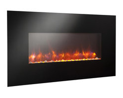 """Outdoor GreatRoom - Linear Gallery Wall Mount Electric Fireplace, 50"""" Width - A line of linear electric fireplaces that are so mesmerizing and so unique, you won't believe your eyes. Choose from 13 backlighting colors or leave it off. Turn on the heat to warm your room. These striking, easy to hang electric fireplaces, are sure to add ambiance to any room: kitchen, bedroom, game room, living room and more!"""