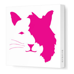 "Avalisa - Animal Face - Cat Stretched Wall Art, 18"" x 18"", Fuchsia -"