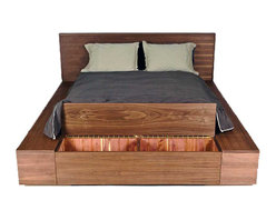 Seed Furniture - Los Feliz Platform Bed - With three cedar-and-cork-lined storage containers, this platform bed has plenty of storage space within its stylish platform design.