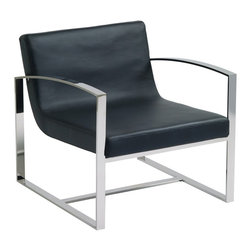 Nuevo - Corbin Lounge Chair in Black - Hi-polish stainless steel frame. Italian leather. Seat Depth: 21 in.. Seat Height: 15.5 in.. 27.5 in. W x 30.75 in. D x 27.5 in. H (37.34 lbs.)