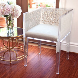 "Natural Floral Lace Chair - Clear acrylic frame with encased Venetian lace and a silk upholstered seat. 20""W x 22""D x 29""H"