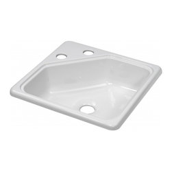 "Lyons - Lyons Deluxe DKS01SQ2-2.0CLP4 Acrylic Kitchen Sink - Lyons Industries Single Bowl White acrylic Recreational Vehicle-Motor Home sink 5"" deep  centers and a 2"" drain opening. This standard self rimming 15""X15"" sink is easy to install. This sturdy sink has durable easy to clean high gloss acrylic construction with a fiberglass reinforced insulation backer. This sink is quiet and provides a superior heat retention than other sink materials meaning your water stays warm longer. Lyons sinks come with a simple mounting tab and clip system to firmly fasten the sink to the countertop and reinforced drain areas. Detailed installation instructions include the cut-out specifications. Lyons sinks are proudly Made in America by experienced artisans supporting our economy."