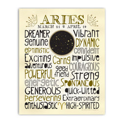 Aries • Zodiac Typography Print, 8x10 - Designed with a snug-fit full page of typography, this print highlights the positive traits that are commonly associated with each astrological sign. A unique medallion in the center features a custom designed constellation graphic. The zodiac sign symbol punctuates the last line. A sprinkling of stars, fun lettering and neutral colors make this easy to hang with different decor styles. Gold & black on ivory.
