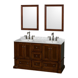 "Wyndham Collection - Rochester 60"" Cherry Double Vanity, White Carrera Marble Top, Drop-In Oval Sinks - Old world charm meets modern functionality with the Rochester line of traditional bathroom vanities. Designed to look great in any setting, from modest country home to palatial estate, the Rochester vanities will revive and renew your personal sanctuary. Natural stone tops give a touch of additional luxury and the antique bronze hardware adds the finishing touch. The down-to-the-floor base imparts a sense of weight and grandeur, while ample cupboard and drawer storage ensures the quality and practicality that the Wyndham Collection is known for."