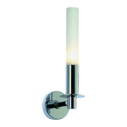 "Decor Walther - Decor Walther Candle Wall Lamp - The Candle wall lamp has been designed and made by Decor Walther.  The design of the wall sconce Candle by Decor Walther is clearly  inspired by a candle in candleholder. The lamp's metal wall fixture is  available in versions in chrome or satined nickel. The lamp's diffuser  is made of matt-white glass and creates an evenly diffused, soft general  light. Product Details:  The Candle wall lamp has been designed and made by Decor Walther. The design of the wall sconce Candle by Decor Walther is clearly inspired by a candle in candleholder. The lamp's metal wall fixture is available in versions in chrome or satined nickel. The lamp's diffuser is made of matt-white glass and creates an evenly diffused, soft general light. Details:                                     Manufacturer:                                      Decor Walther                                                                  Designer:                                     In House Design                                                                  Made in:                                     Germany                                                                  Dimensions:                                      Diameter: 2.76"" (7 cm) X Height: 10.63"" (27 cm) X Depth: 3.94"" (10 cm)                                                                  Light bulb:                                      1 x G9 Max 60W                                                                  Material:                                      Metal"
