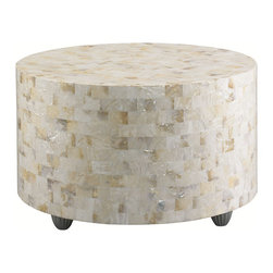 Sherrill Occasional - Sherrill Occasional Kabebe Shell Drum 963-150 - Whether between a pair of lounge chairs or in front of a sofa this round drum style table is certain to be a conversation piece. Painstakingly crafted from Kabebe sea shells that have been carefully inlaid and polished to a satin luster.