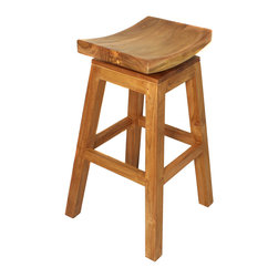 "ecWorld - Urban Designs 30"" Solid Teak Wood Swivel Bar Stool - Natural Teak Brown - This solid teak wood barstool will add a contemporary flair to your bar or counters. Features a hardwood construction with a soft shaped and contoured seat for excellent comfort and support. Strong built and design made to stand up to the elements for years."