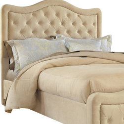 Hillsdale Furniture - Hillsdale Trieste Upholstered Fabric Headboard w/ Rails in Buckwheat - King - The Trieste bed is both fashionable and comfortable. An impressive, large headboard is complimented by nail-head trim and button and tuck styling. The fabric covered side rails and footboard continue the soft, luxurious theme. Available in your choice of three colors, the Trieste bed is a fantastic addition to any home. Fabric Color Choices: Buckwheat, Chocolate, and Pewter