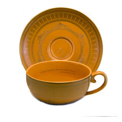 "Everybody's Ayurveda - Porcelain Tea Cup and Saucer in Amber with Gold - 4 Pieces - Teaveda ""Vata"" Amber & Gold Tea Cup and Saucer. Porcelain. Made in China."
