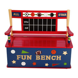 Levels of Discovery - All Star Sports Bench Seat with Storage - Spinning balls (soccer, basketball, football and baseball) and hockey puck along top of seat back Fun seat back design with ball bats and real chalkboard scoreboard Slow-closing metal safety hinge Spinning balls and hockey puck. Chalkboard seat back. Slow-closing metal safety hinge. All products have instructions included for assembly.