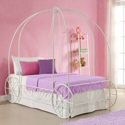 Dorel Home - DHP Metal Twin Carriage Bed - 3259098 - Shop for Beds from Hayneedle.com! The crowning touch for any classic children s bedroom decor the DHP Metal Twin Carriage Bed features a low-profile metal frame accented with carriage wheels heart-shaped scrollwork and arched posts with an openwork crown. Designed to hold a standard twin-sized mattress this charming contemporary bed has an immaculate white finish that suits virtually any bedroom color scheme.About Dorel IndustriesFounded in 1962 Dorel Industries is a family of over 26 brands including bicycle brands Schwinn and Mongoose baby lines Safety 1st and Quinny as well as home furnishing brands Ameriwood and Altra Furniture. Their home furnishing division specializes in ready-to-assemble pieces including futons microwave stands ladders and more. Employing over 4 500 people in 17 countries and over four continents Dorel is renowned for their product diversity and exceptionally strong commitment to quality.