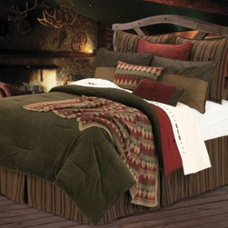 Homemax Imports - Wilderness Ridge Comforter Set - Invoke the great outdoors feeling with this Wilderness Ridge comforter set. The soft comforter creates a plush sleep experience and the matching bed skirt, cushion, pillow shams and knit toss pillow complete the set.