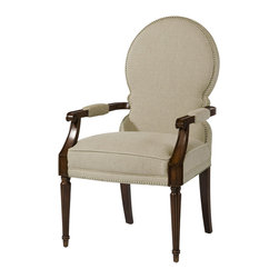 Kathy Kuo Home - Sadie Venetian Rounded Back Natural Linen Dining Arm Chair - Couldn't you just eat this chair up with a spoon? From the curvy, spoon-shaped back and flax-colored Belgian linen to the fluted legs and nailhead trim, this chair is built for comfort and cuteness. What's even dishier? It's available as both a side or armchair.
