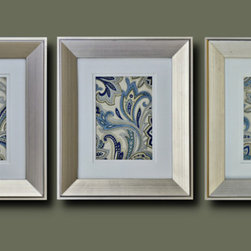 Framed Fabric Wall Decor with Blue Paisley Pattern - An elegant paisley pattern in blue, cream and soft touches of gold fabric with a porcelain-like finish embraced by wooden frames with delicate golden-silver shades couldn't look better.