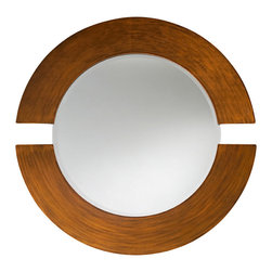 "Howard Elliott - Orbit Round Mirror, Brushed Copper - Orbit Round Brushed Copper Mirror, Frame Dimensions: 38"" Diameter X 1""D; Mirror Dimensions: 27"" Diameter; Finish: Brushed Copper; Material: Wood;Beveled: Yes;Shape: Round;Weight: 34 lbs;Included: Brackets, Ready to Hang"