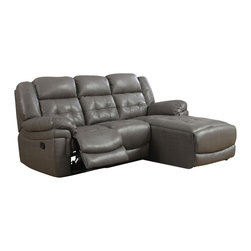 Monarch Specialties - Monarch Specialties 8186GY Reclining Sofa Lounger in Dark Gray - Join style and comfort together. This sofa chaise is the perfect seating solution for large living room areas. Plush full foam seating, a sturdy solid wood frame and motion reclining, this sofa chaise has plenty of space as well as comfortable armrests. Buttonless tufting backs with curved seat fronts provide a timeless touch of elegance. Wrapped in a top grain bonded leather match in a beautiful rich grey. Pair this stylish sectional with a modern coffee table.