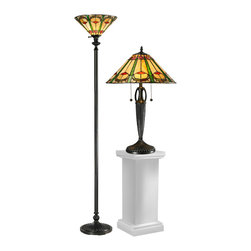 Dale Tiffany - Dale Tiffany TC12340 Quill Table & Floor Lamp Set - Shade: Hand Rolled Art Glass