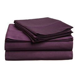 300 Thread Count Egyptian Cotton Twin XL Plum Solid Sheet Set - Experience true 100% Egyptian Cotton luxury when you sleep on these 300 Thread Count sheets.  An affordable luxury that drapes beautifully on the bed. This set includes One Flat Sheet 66x96, One Fitted Sheet 38x80, and One Pillowcase 20x30.