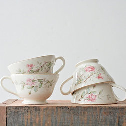 Vintage Set of Floral Teacups with Gold Rims by Ms. Jeannie Ology - Afternoon tea is always sweeter with some delicate teacups. I would only want to drink a floral tea out of these.