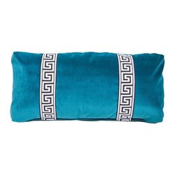 Society Social - Teal Greek Key Lumbar Pillow - Something about Greek key trim lends a regal air to any application. This lumbar pillow gets double the royal treatment then, thanks to two strips hugging either side of center.