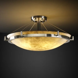 "Justice Design Group - Justice Design Group CLD-9682 24"" Round 6 Light Semi-Flush Ceiling Fixture with - Justice Design Group CLD-9682 24"" Round 6 Light Semi-Flush Ceiling Fixture with Bowl Shade and Ring from the Clouds CollectionThe Clouds Collection is the perfect choice for design applications that require a clean, ""soft-contemporary"" look. With a composition of neutral color tones, this collection will add a warm ambient glow to any d�cor.From an elegant lamp atop a contemporary end table to a dramatic sconce illuminating a formal entryway, Justice Design offers a wide array of lighting solutions for residential and commercial settings. Create a mood, complement a theme, or simply add the perfect accent with a Justice Design decorative lighting fixture."