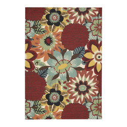 Nourison - Nourison Vista Floral Multi 8' x 10' Rug by RugLots - The view is always beautiful with these exciting, eye-catching and durable rugs. Features a heavy loop pile with floral, paisley and ikat designs in striking colors. Select designs have been hand carved for extra texture and dimension. Bring a vibrant focal point into any interior with these attractive rugs and express yourself with style and panache.