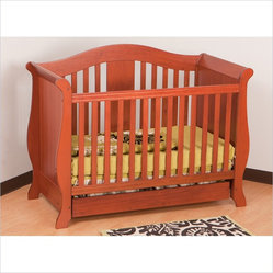 Stork Craft Vittoria 3-in-1 Fixed Side Convertible Crib in Cognac