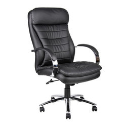 BOSS Chair - High Back Caressoft Plus Executive Chair w Kn - When just another office chair simply won't do, this model certainly will. The chair has sumptuous, nestled-in comfort, thanks to padded seat & back and black faux leather upholstery. Chrome accents highlight the arms and base. Adjust the tilt, height and more. Deluxe executive contemporary chair. Unique design with an extra layer of foam for incredible comfort. Beautifully upholstered with ultra soft, durable and breathable Cares soft Plus . Metal chrome plated arms topped with soft arm pads. 2-paddle spring tilt mechanism, which can be locked in any position throughout the tilt range. Seat size: 20.5 in. W x 19.5 in. D. Seat height: 21 - 24.5 in. H. Arm height: 28 - 32 in. H. Overall dimension: 25.5 in. W x 32.5 in. D x 45.5 - 49 in. H. Weight capacity: 250 lbs.