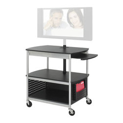 "Safco - Safco Scoot Open Flat Panel Multimedia Cart - Safco - TV Carts - 8940BL - An economical way to move your flat-panel monitor and other equipment safely and securely. Holds up to 42"" monitors steel construction cart mobile on 4 casters (2 locking). Includes UL approved electrical assembly with surge protector. Includes detachable file pocket. Easy assembly instructions included."