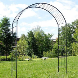 Achla - Monet II Arbor - Create an elegant garden entrance with one of Achla Designs' handcrafted wrought iron arbors. All our arbors are designed to be shipped flat. They are erected using easy-slip components. No screws or tools are required. The arbor stands tall enough to allow vines to grow while leaving ample room for passageways.. Arbor feet NOT included.. 30 in. D x 82 in. W x 114.5 in. H