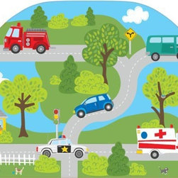 "Brewster Home Fashions - Around Town Headboard Decal - A headboard adds a finished touch to a room anchoring the bed with a cool focal point. Our Around the Town peel and stick headboard design is curvy and cute creating a fun scene for the wall. This happy town is a busy and bustling place with all kinds of cars and trucks sharing the road. Give any space an instant headboard and add a playful touch to a child's room with this headboard decal. Measures 26""x41"""