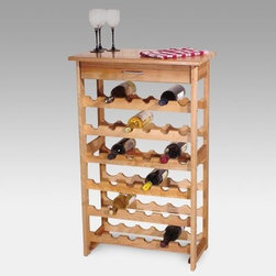 Detroit 36-Bottle Floor Standing Wine Rack - What We Like About This Wine RackThe Detroit Wine Rack is made of solid hardwood with a fully oiled natural finish. This wooden rack has six rows of bottle storage for a total capacity of 36 bottles. The slight tilt ensures that corks remain wet. A handy utility drawer above the bottles provides storage for corkscrews or utensils. The top of this rack measures 24W by 13D inches and has been lacquered for protection making it the ideal place to serve wine at your next party. Catskill Craftsmen's Eco-friendly PracticesCatskill Craftsmen is committed to protecting the environment through responsible forest management and manufacturing practices. Located in the Catskill Mountains of upper state New York Catskill Craftsmen plays a role in maintaining the health of the New York City watershed. This watershed provides clean water for New York City and other communities in the area. Healthy well-managed forests are better able to filter pollutants from entering streams and rivers which preserves the quality of watershed resources. With this goal in mind the company supports the efforts of the Watershed Agricultural Council (WAC). With the WAC Catskill Craftsmen encourages lumber suppliers (family forest owners and public land managers) to make wise harvesting decisions and control erosion in order to safeguard water quality. Other efforts to protect the environment include using sustainable wood sources and reducing wood waste. Catskill Craftsmen's manufactured items are made from naturally self-sustaining non-endangered North American hardwoods primarily birch and hard rock maple. All sawdust shavings and waste materials generated during the manufacturing process are converted into wood pellet fuel used to heat homes. This alternative heating source creates less ash and lower emissions than some other fuels. By operating their own wood pellet mill Catskill Craftsmen reduces their wood waste to zero. As natural resources become e