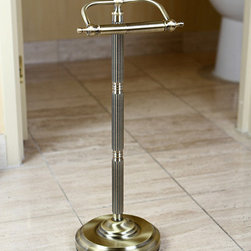 None - Antique Brass Free Standing Paper Holder - Give your bathroom a gorgeous classic look with this antique-style brass toilet paper holder. It stands on a single pole,making it easy to access your toilet paper when you need it and making it easy to polish to maintain its style.