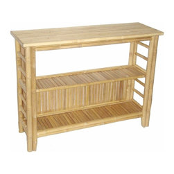 """Bamboo54 - Bamboo Fancy Console Table - Fancy bamboo console table can be used as a telephone table or hall way table as well. Slim design is great for narrow spaces. Measures 46"""" W x 15"""" D x 34"""" H, some assembly required."""