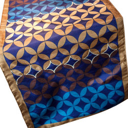 Vintage Maya - Bhutan Table Runner - If you crave colorful prints with an eclectic edge, this table runner is for you. Geometric leaf medallions manage to look compellingly mysterious despite the simplicity of the pattern. Let this print stand out all on its own atop a simple chestnut stained dining table.