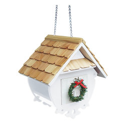 Home Bazaar Inc - Christmas Wren Feeder - White - A most, cheerful holiday version of our Little Wren Feeder. This fully functional hanging feeder is perfect for any backyard. The Christmas Wren Feeder in holiday white features a pine roof, shuttered windows, removable decorative wreath and scrollwork bottom. The slide-up roof makes it a snap to pour in the seed of your choice. Drainage holes will help keep the inside dry.