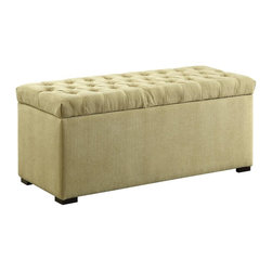 Ave Six - 16.75 in. Tufted Storage Bench - Covered in a high performance, easy care Shultz basil fabric